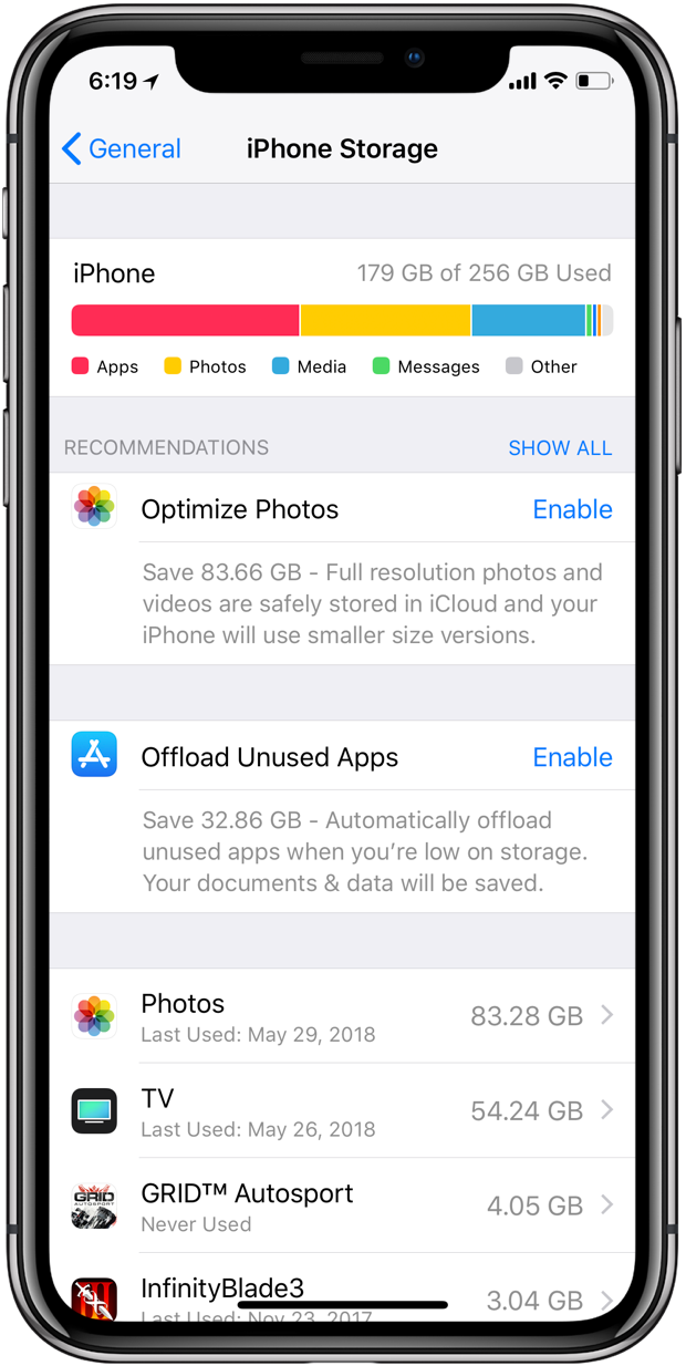 offload unused apps iOS 11 Settings storage recommendations