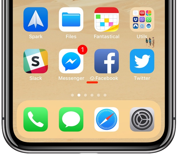 offload unused apps iOS 11 Home screen cloud icon