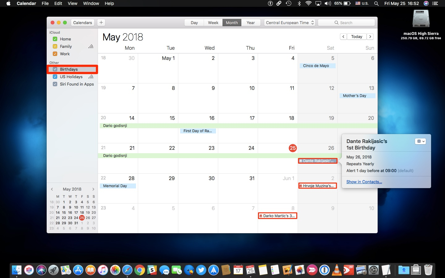 Apple Calendar birthdays Mac