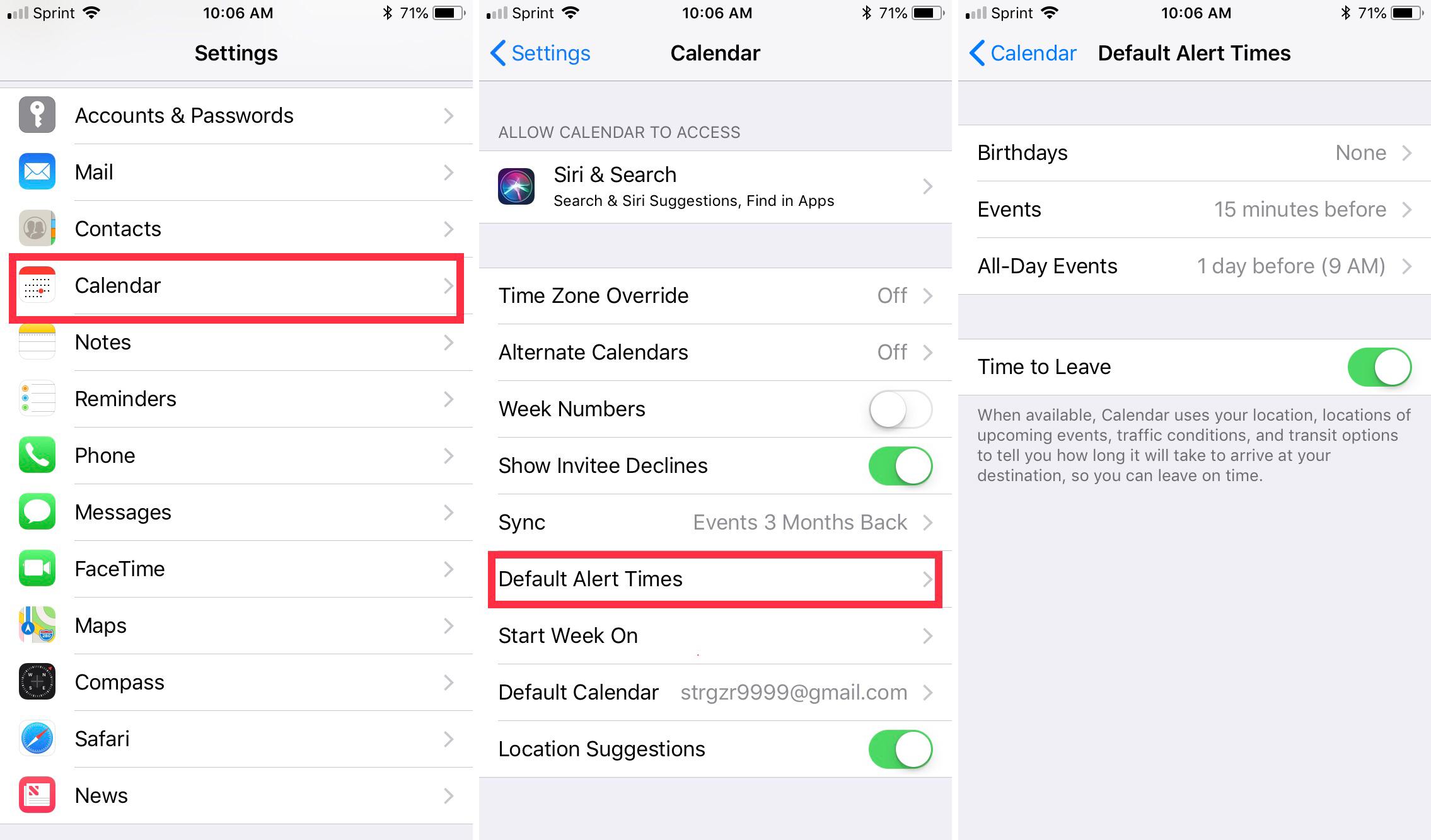 Access iPhone Calendar Alerts
