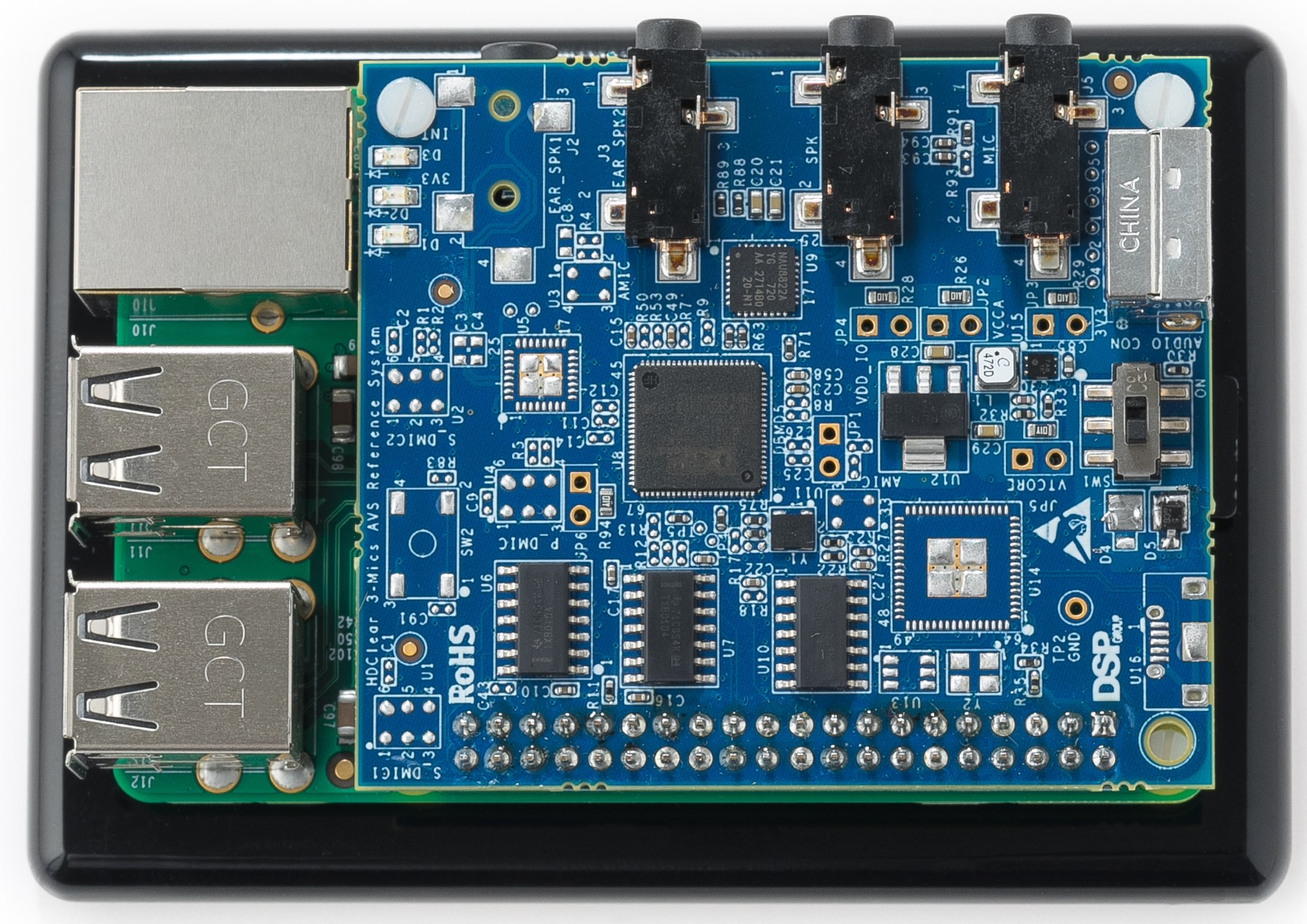 An image showing DSP's HDClear 3-mic development kit for Alexa Voice Service