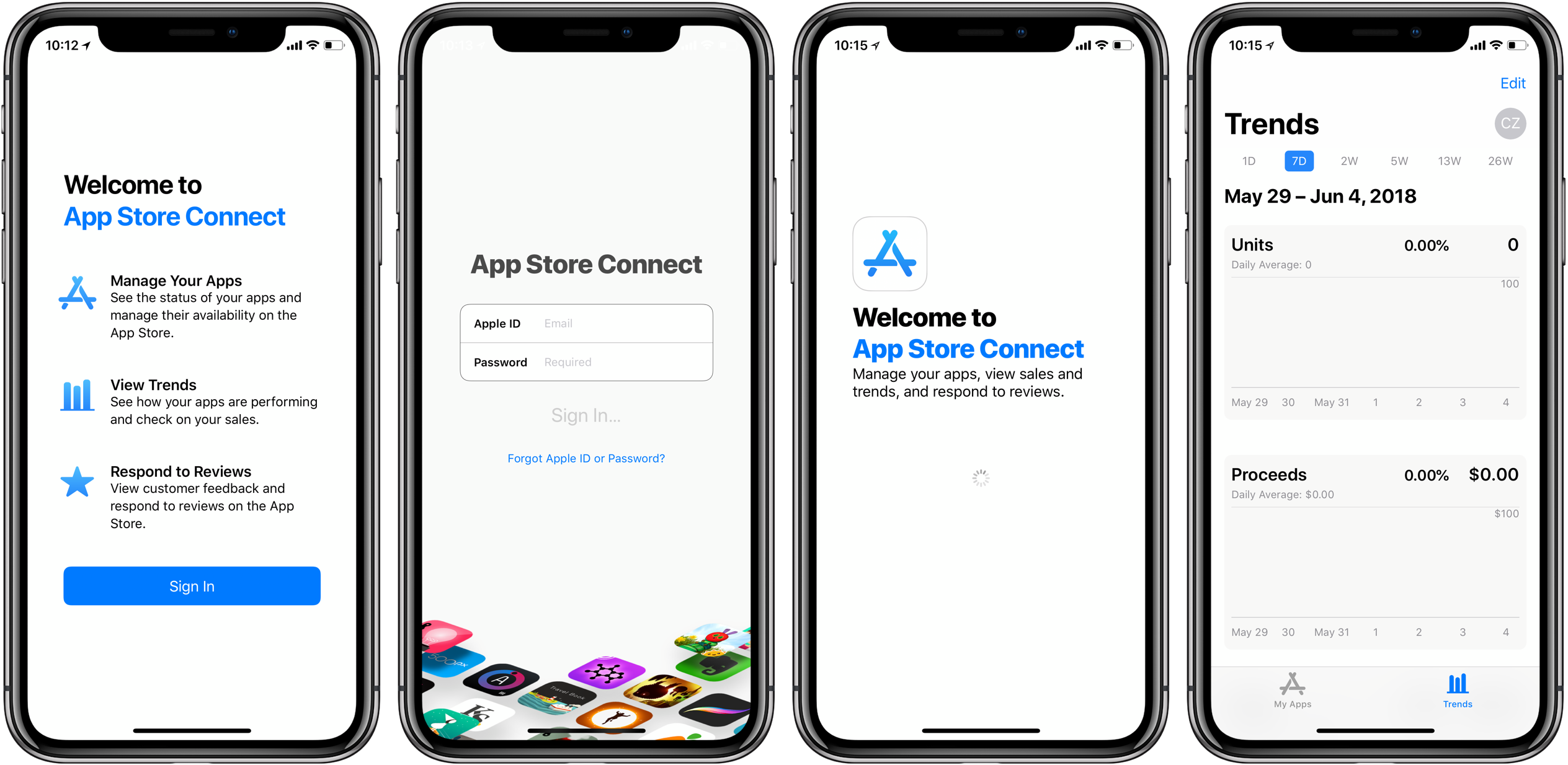 A screenshot showing off the App Store Connect app for iPhone