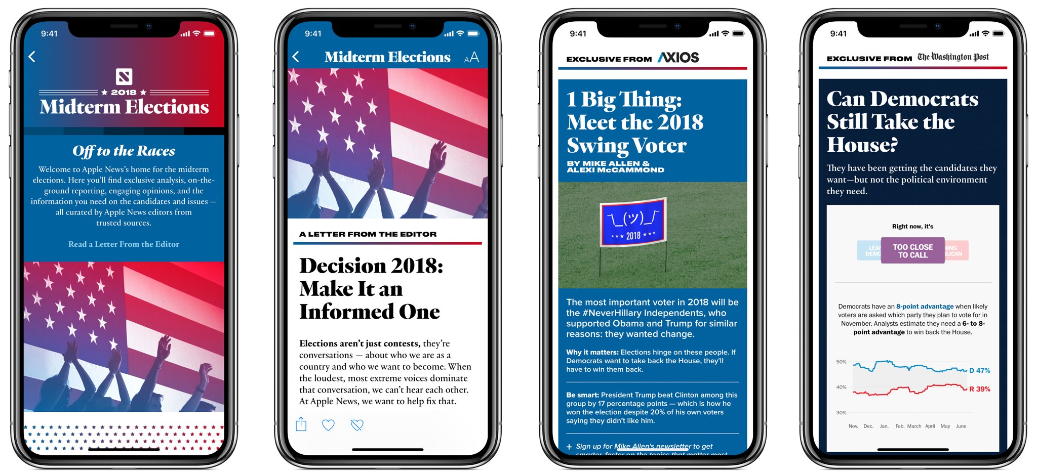 Screenshots of the new 2018 Midterm US Elections section in the Apple News app on iPhone
