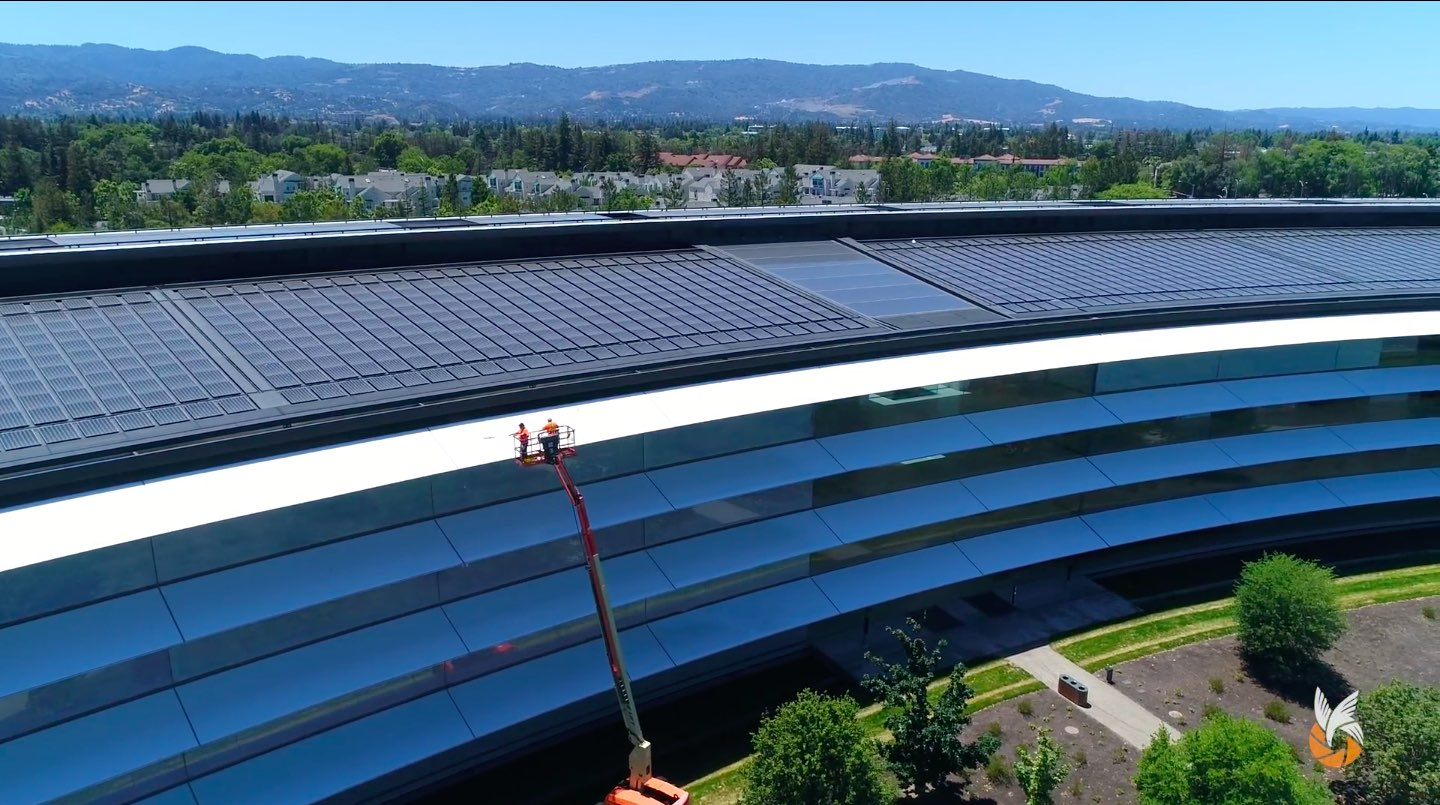 Apple Park drone video June 2018: cleaning crews cleaning the shades