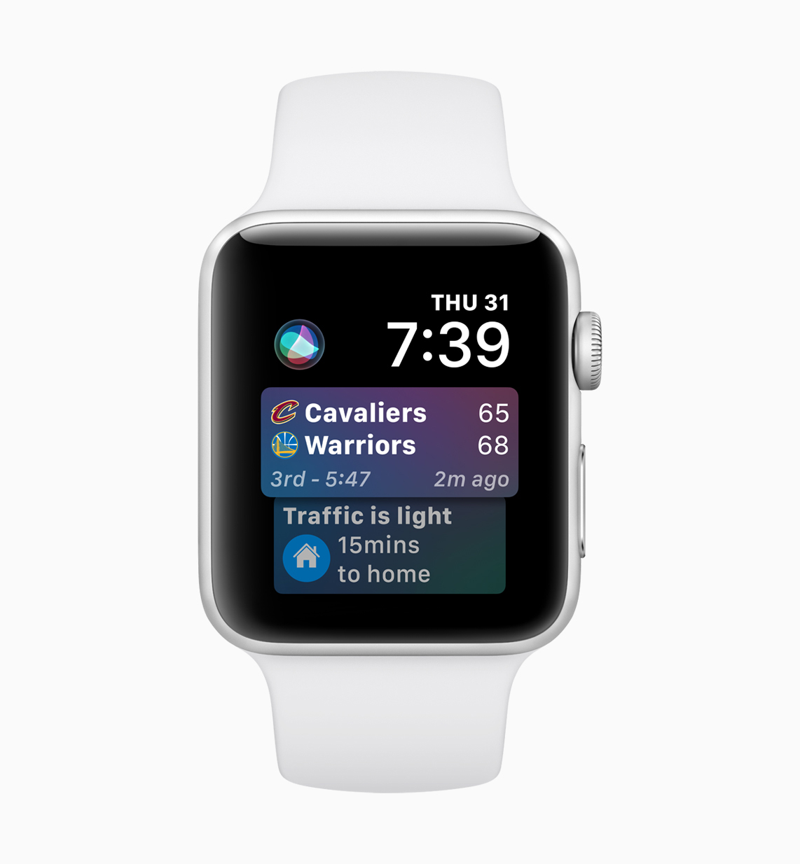 Apple Watch Siri face in watchOS 5 showing commute times from Maps