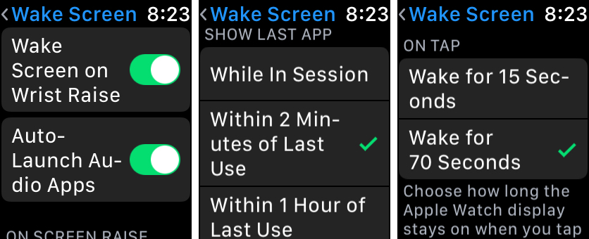 Apple Watch Wake Screen Options