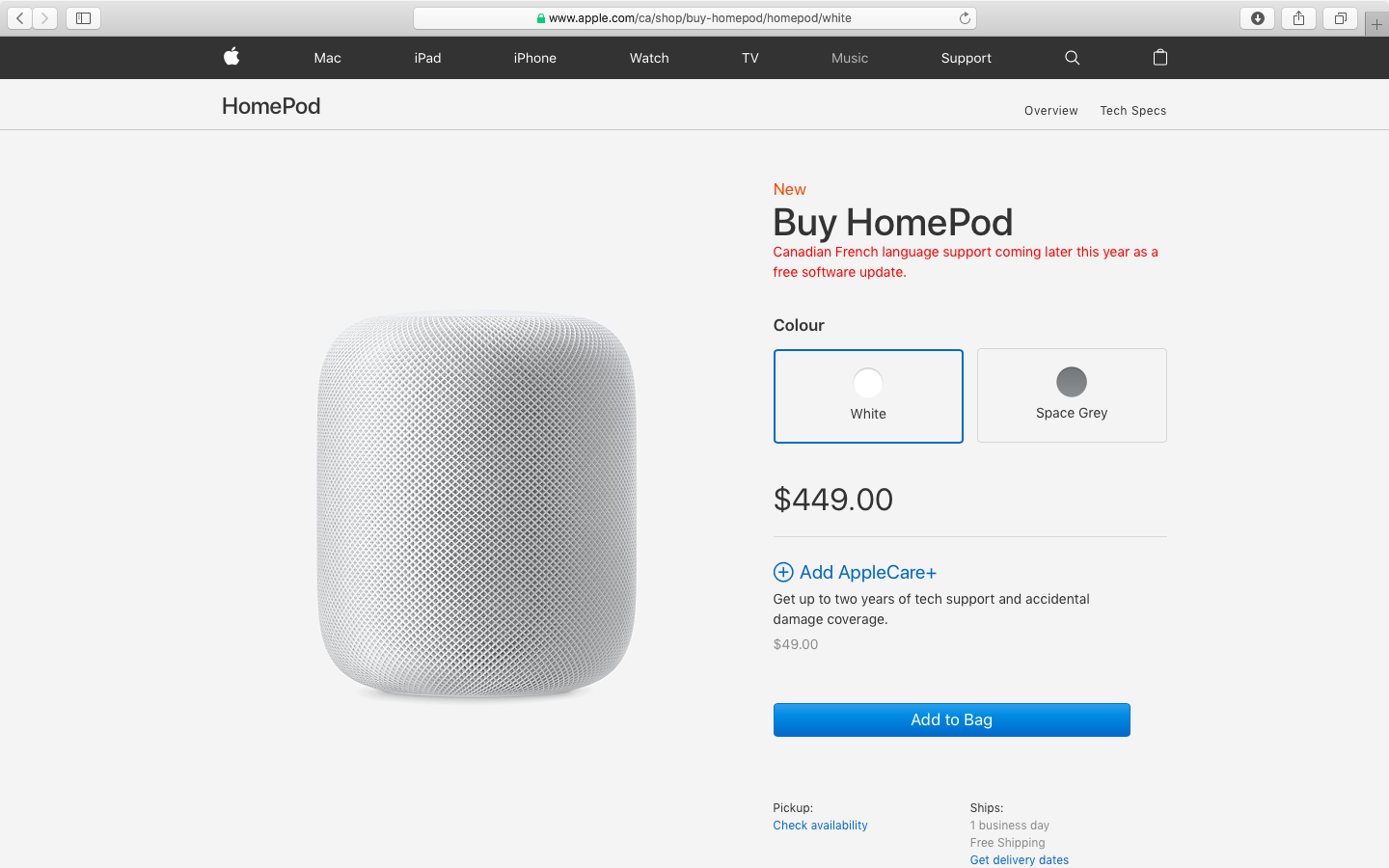 The Buy HomePod webpage in Canada notes that Canadian French language supports coming later this year as a free software update