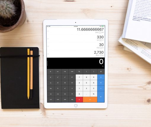 Calculator App on iPad Desk
