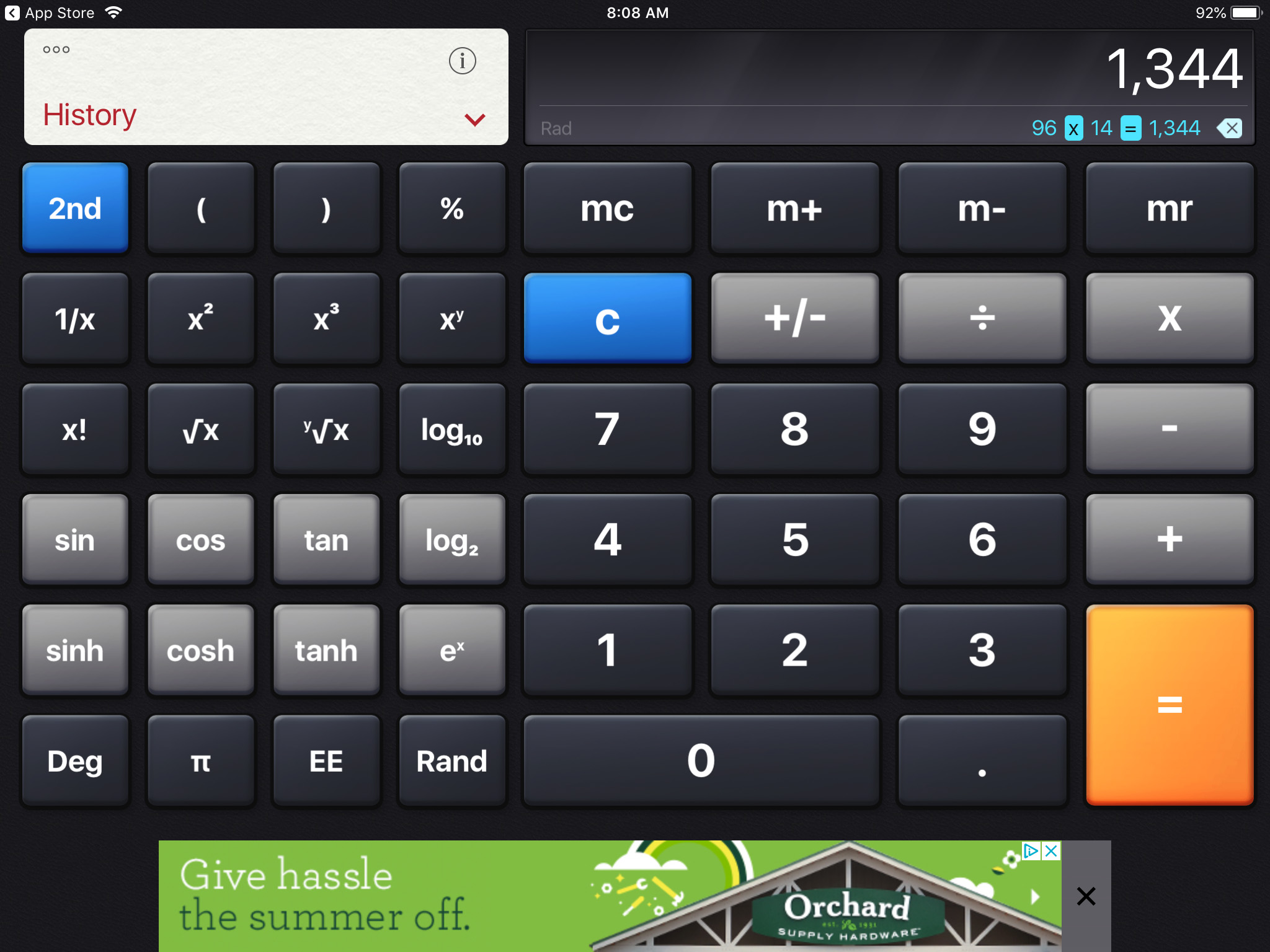 Calculator on iPad