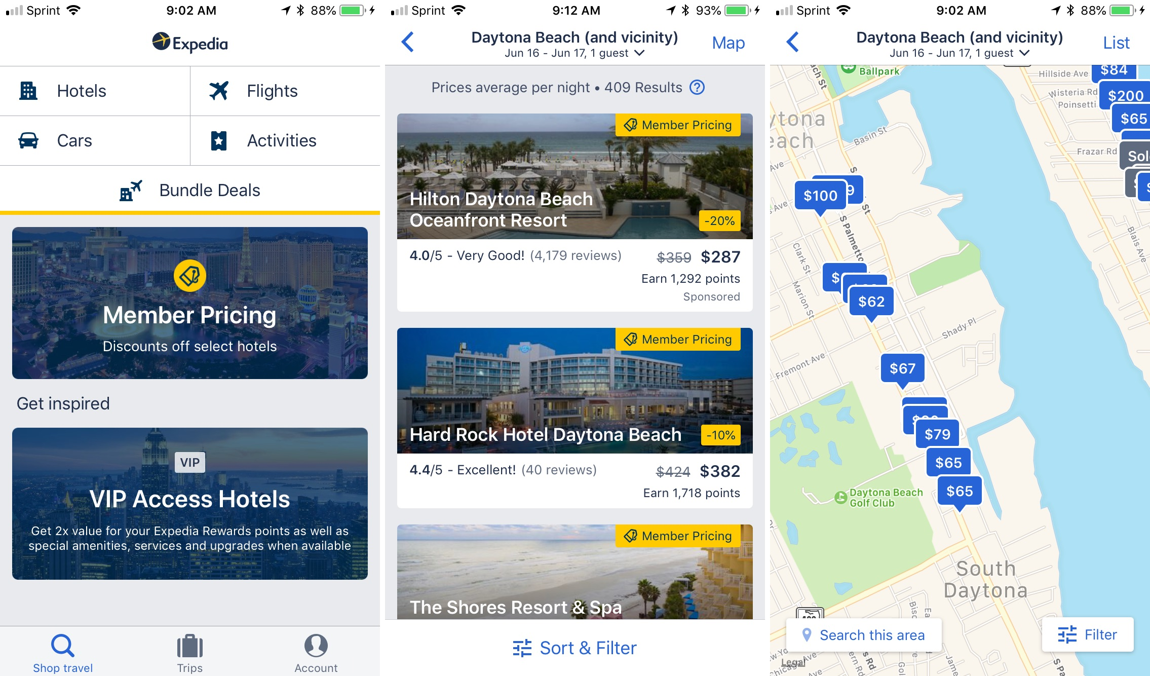 Aplicación de viaje de Expedia iphone