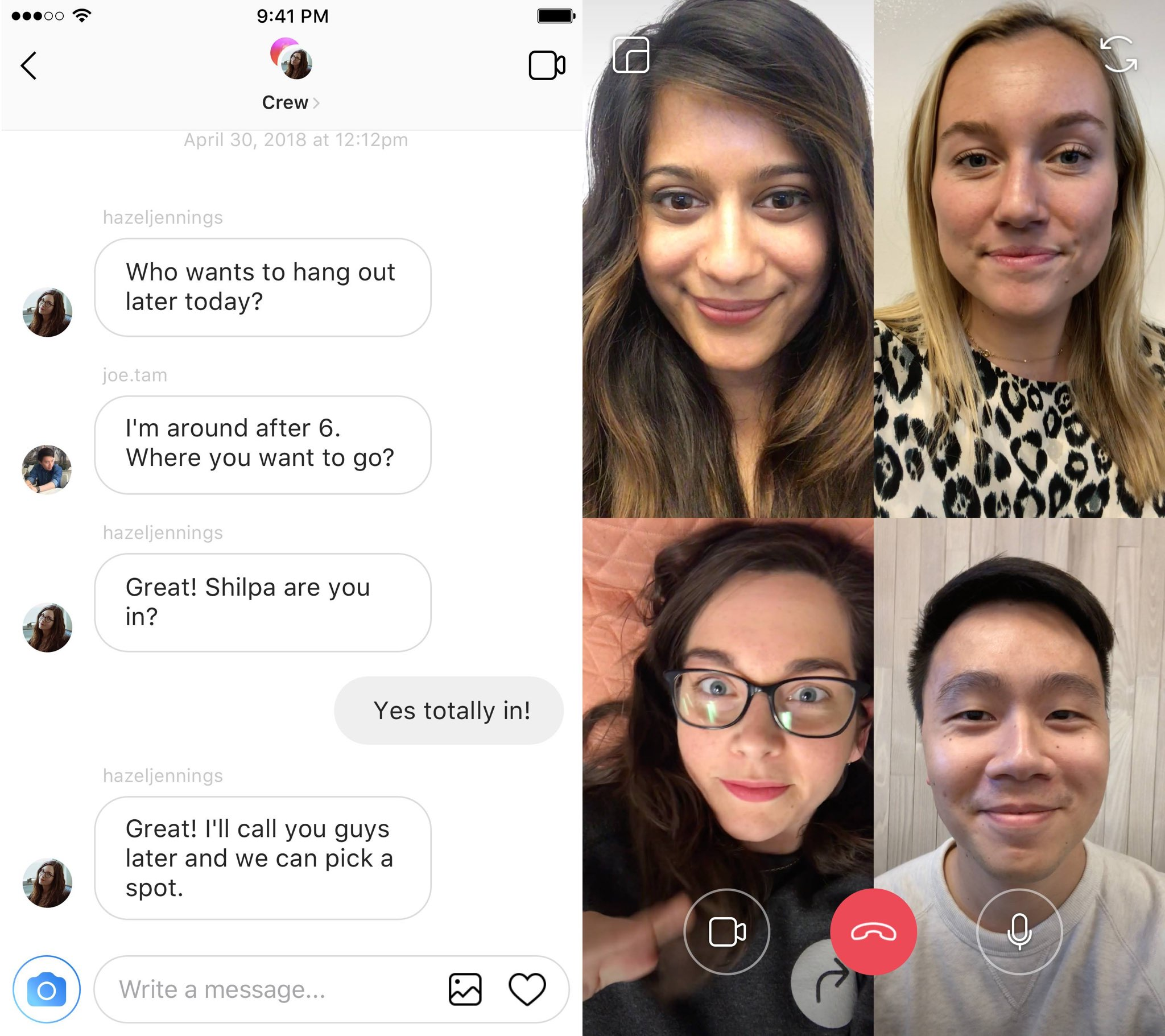Instagram Direct is rolling out group video chat with up to 4 people at the same time