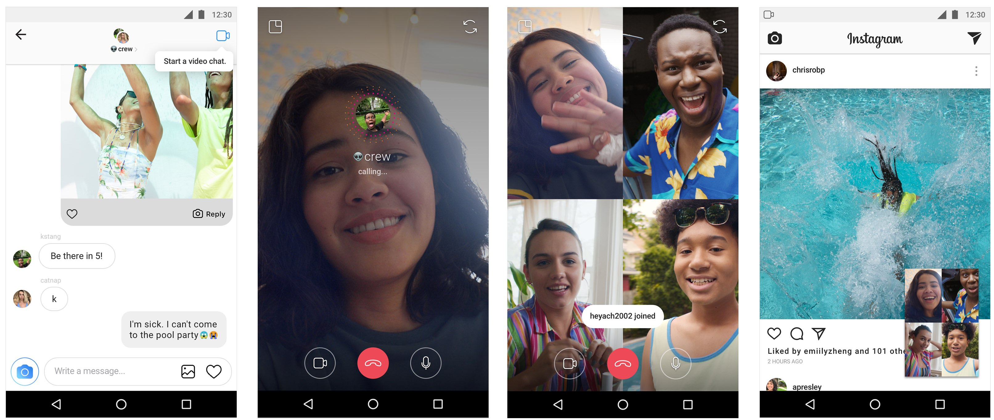 Video chat is supported across Instagram for iOS and Android