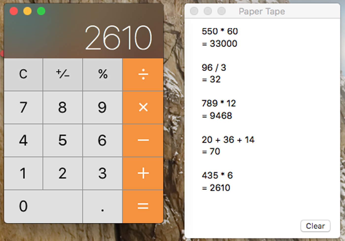 mac calculator app with tape