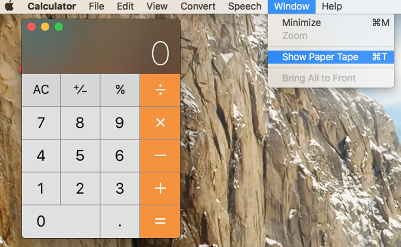 Mac Calculator Show Tape Menu