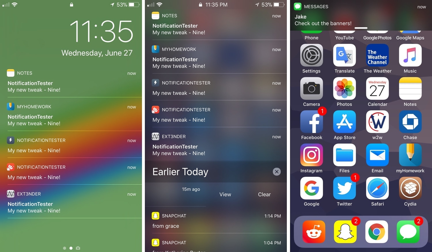 BetterCCXI, Nine, PokeCall, and other jailbreak tweaks to