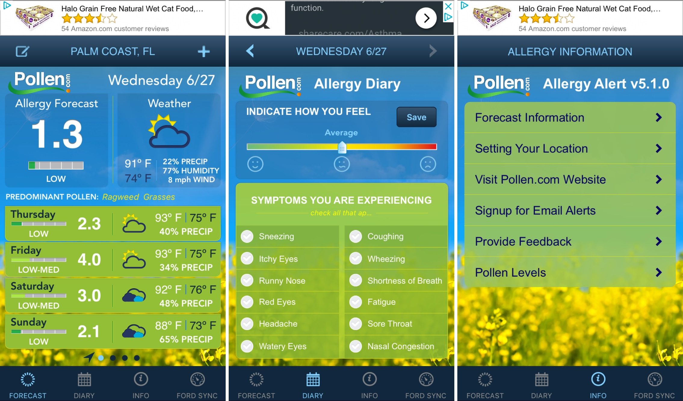 PollenDotCom Allergy Alert on iPhone