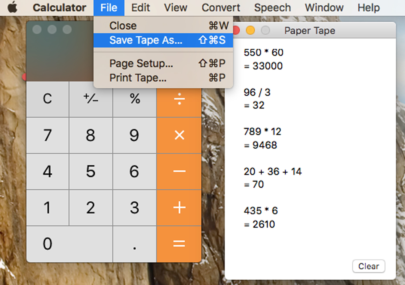 Save Mac Calculator Tape