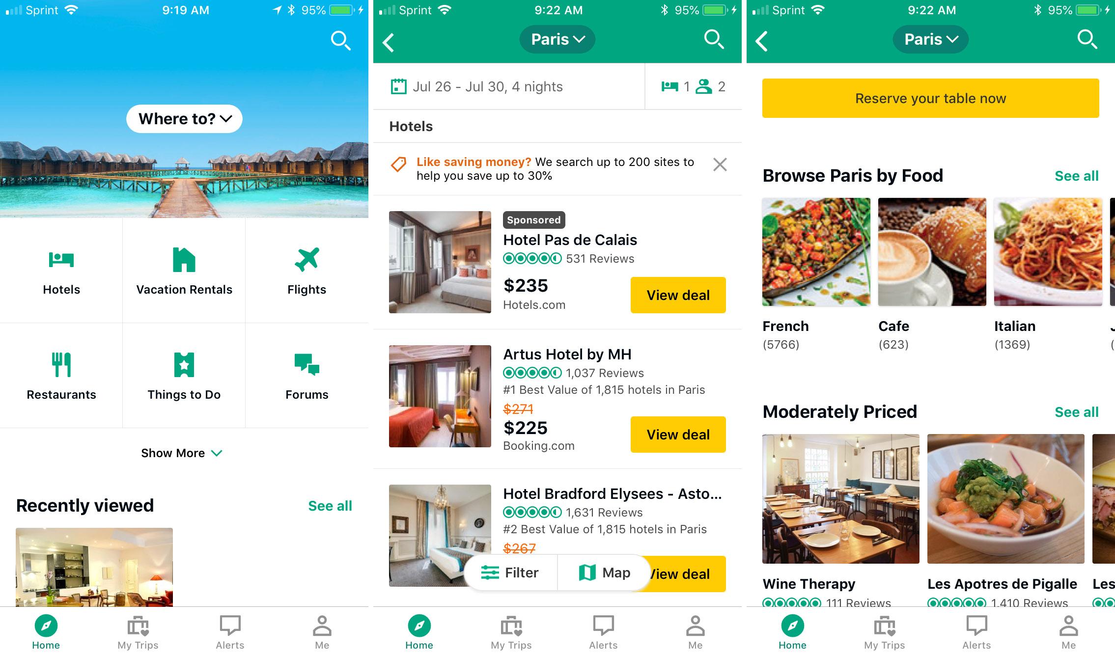 Aplicación de viaje de TripAdvisor iphone