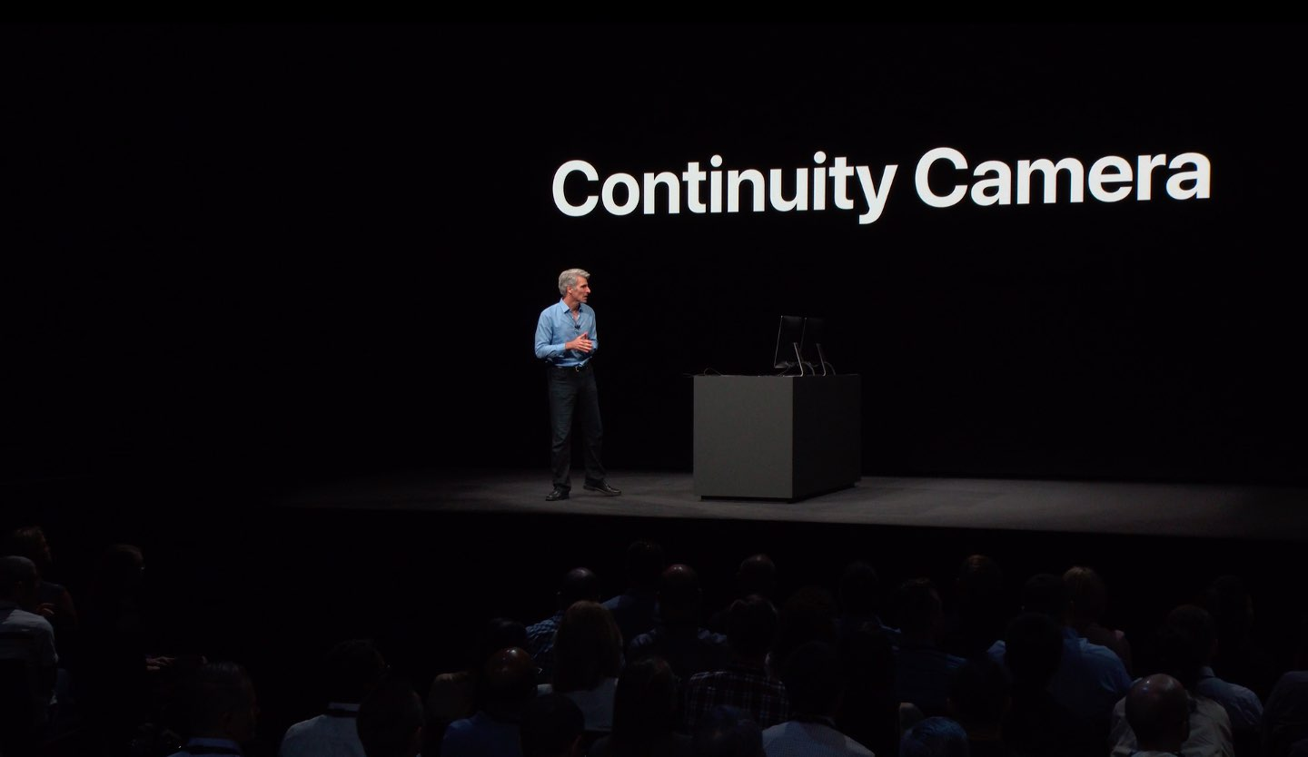 Apple's software engineering chief Craig Federighi presents the new Continuity Camera feature in macOS Mojave during the WWDC 2018 keynote talk.