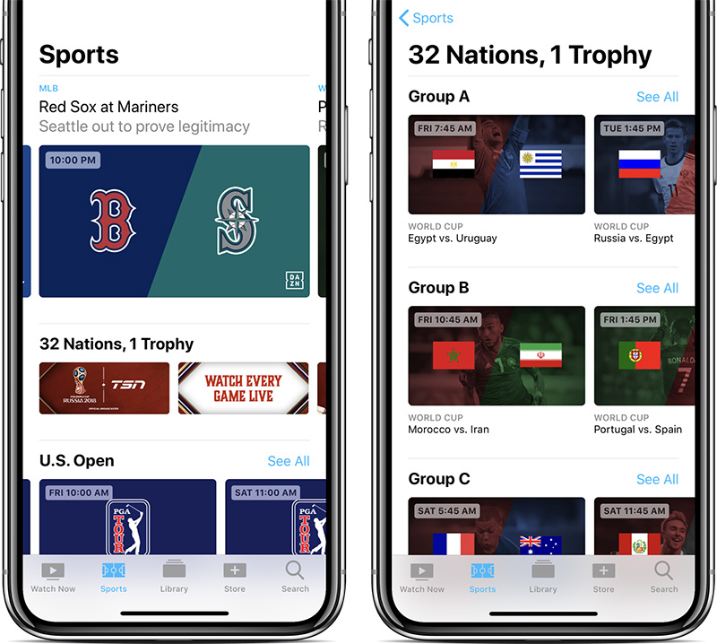 Live sports in Apple's TV app in Canada
