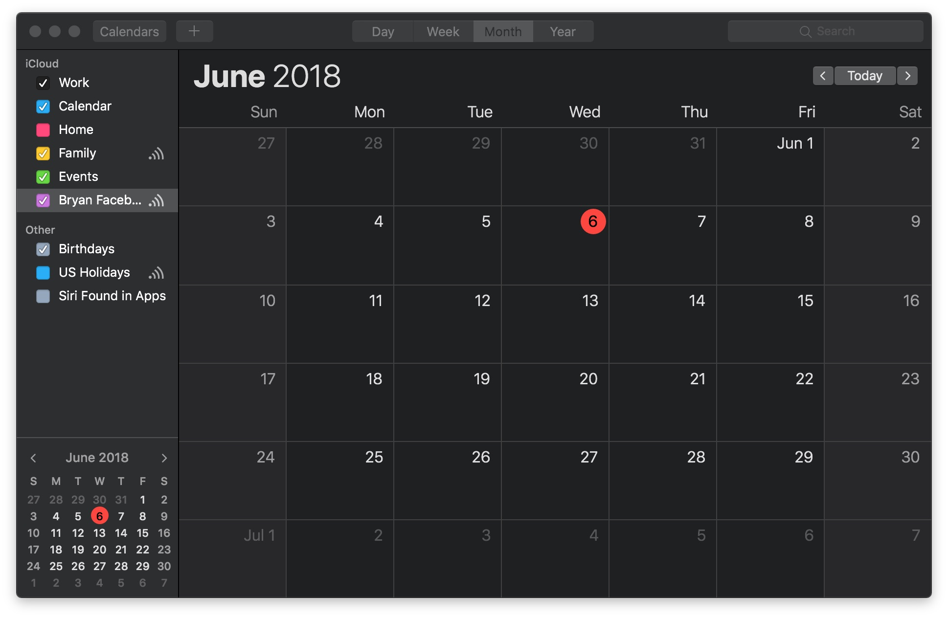 Calendar Dark Mode