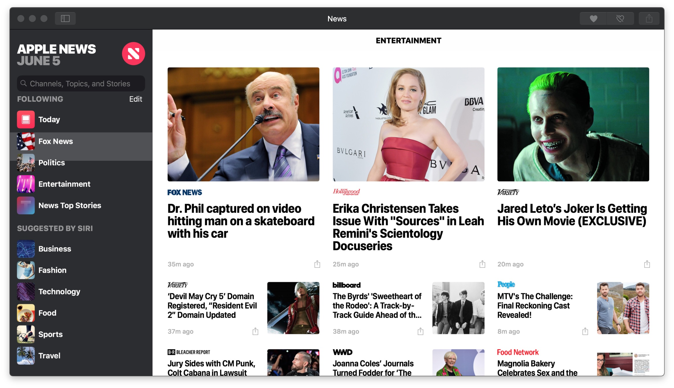 News Entertainment section