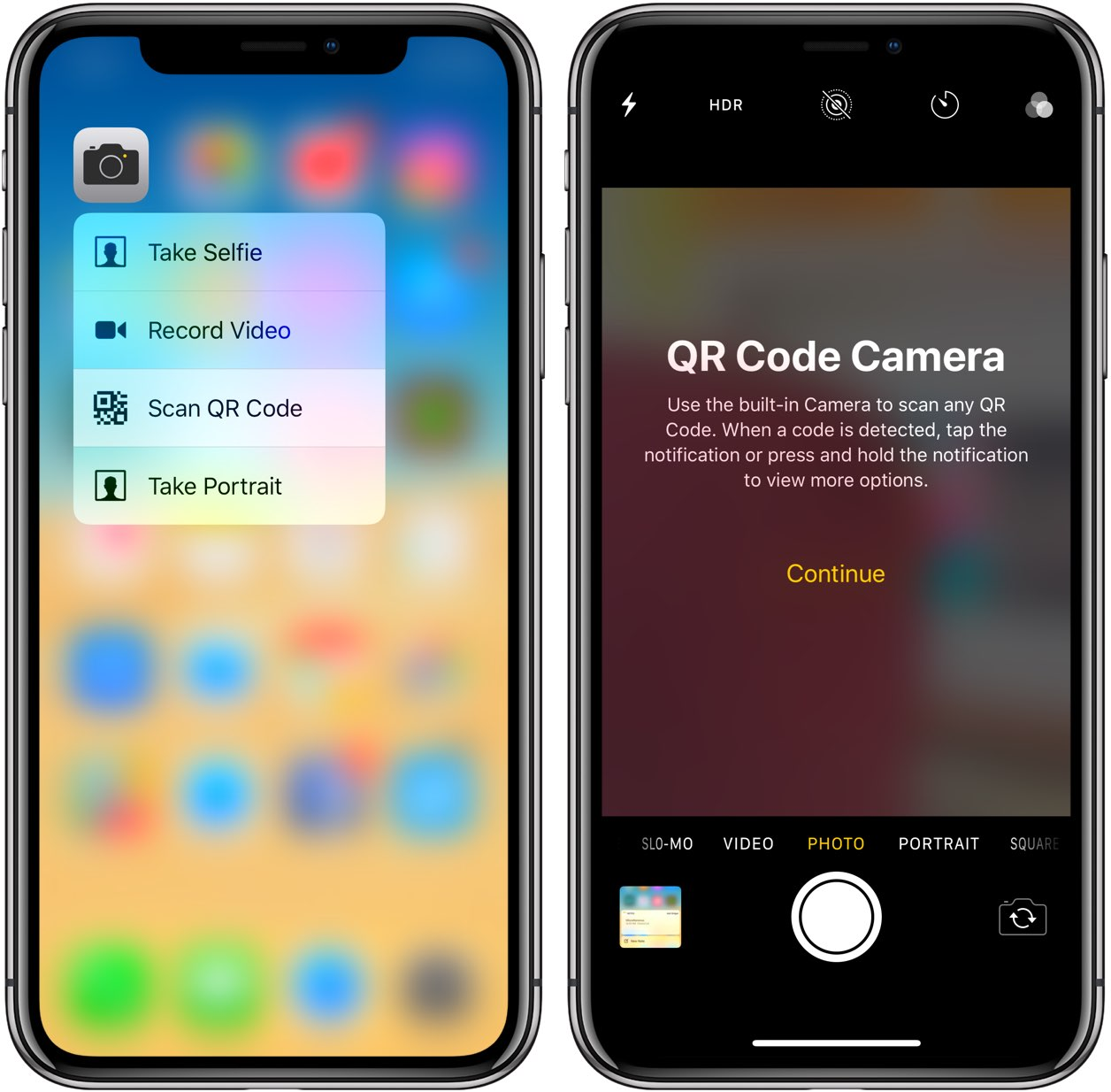 iOS 12 3D Touch shortcuts on the Home screen for the Camera app