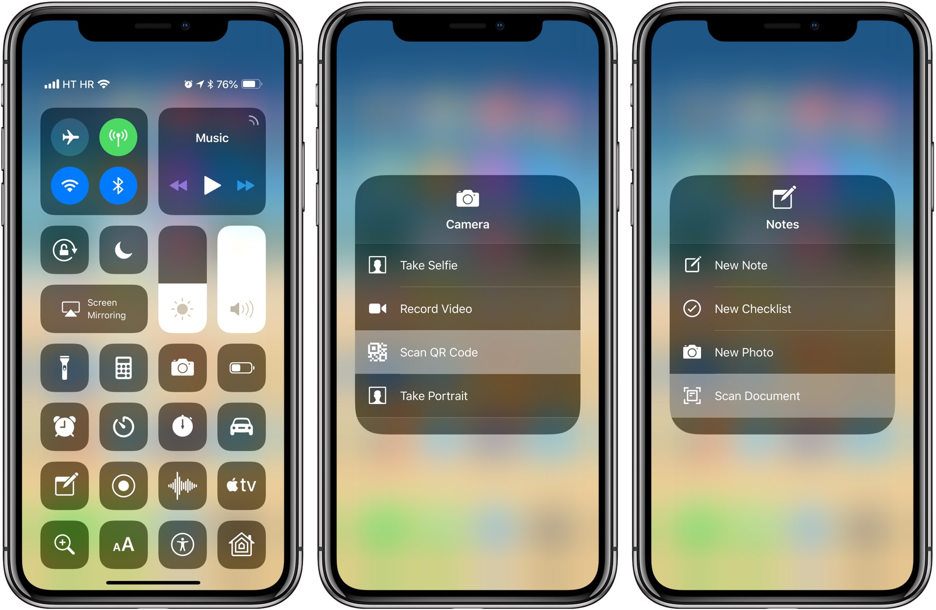 iOS 12's new 3D Touch shortcuts for Notes and Camera can be accessed through Control Center as well
