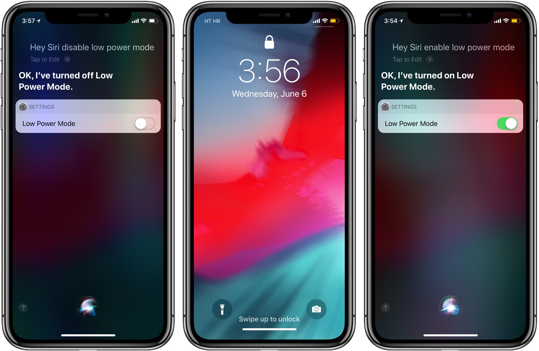 Untethered Hey Siri is shown working in Low Power Mode on iOS 12
