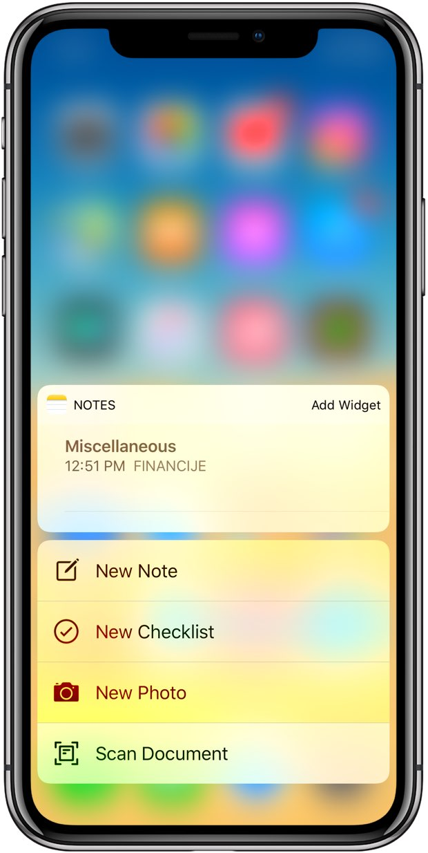 iOS 12 3D Touch shortcuts on the Home screen for the Notes app