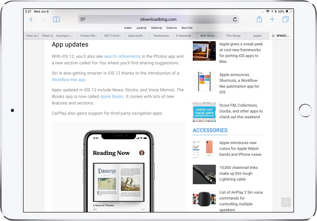 An iPad in landscape mode without Safari favicons in open tabs