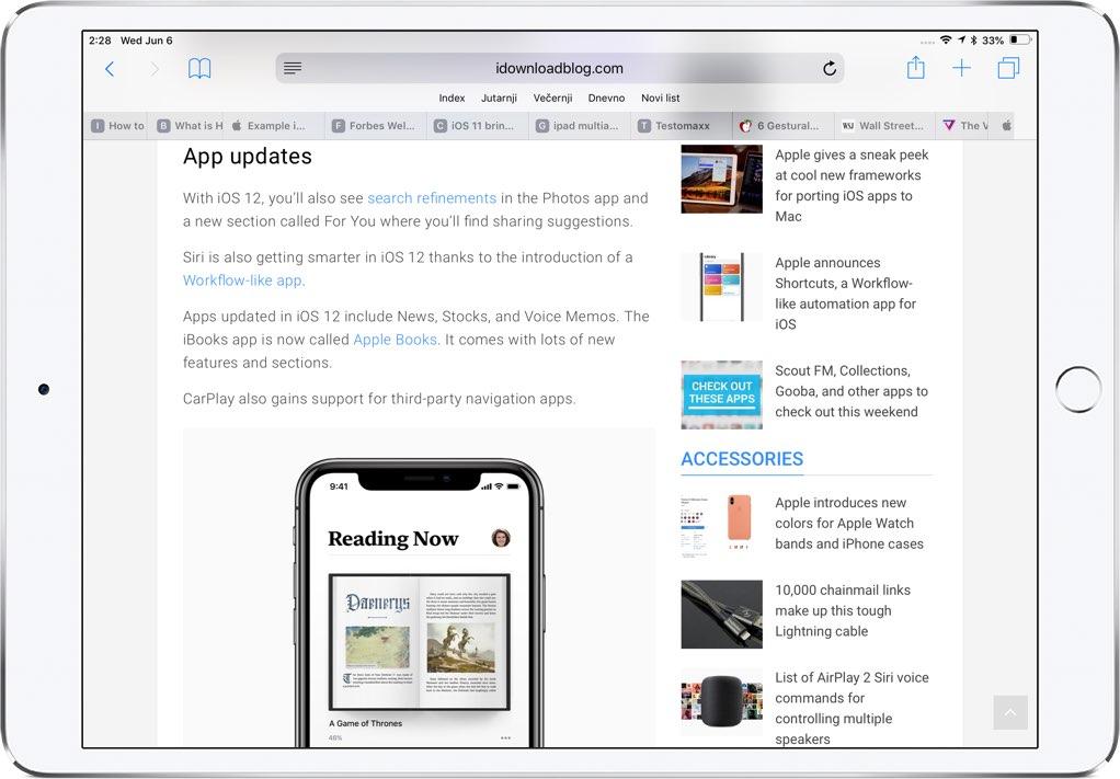 Safari favicons shown on iPad in landscape mode