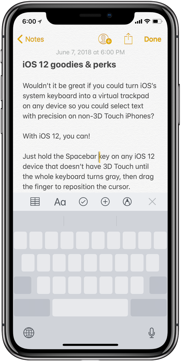 New in iOS 12: keyboard trackpad mode on non-3D Touch iPhones