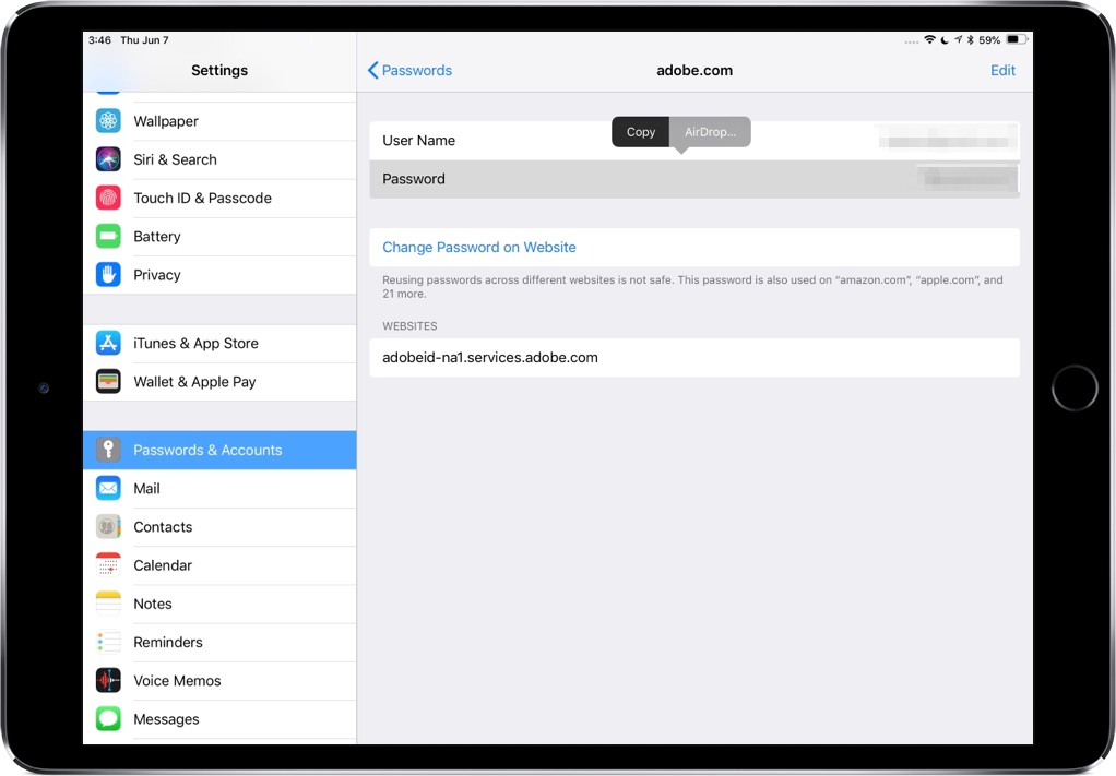 AirDrop passwords on iPad