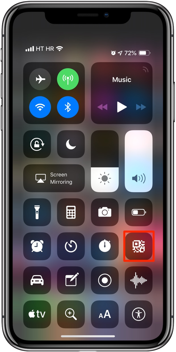 "Once enabled, tapping the ""Scan QR Code"" icon in Control Center launches the QR Code scanner in the stock Camera app"