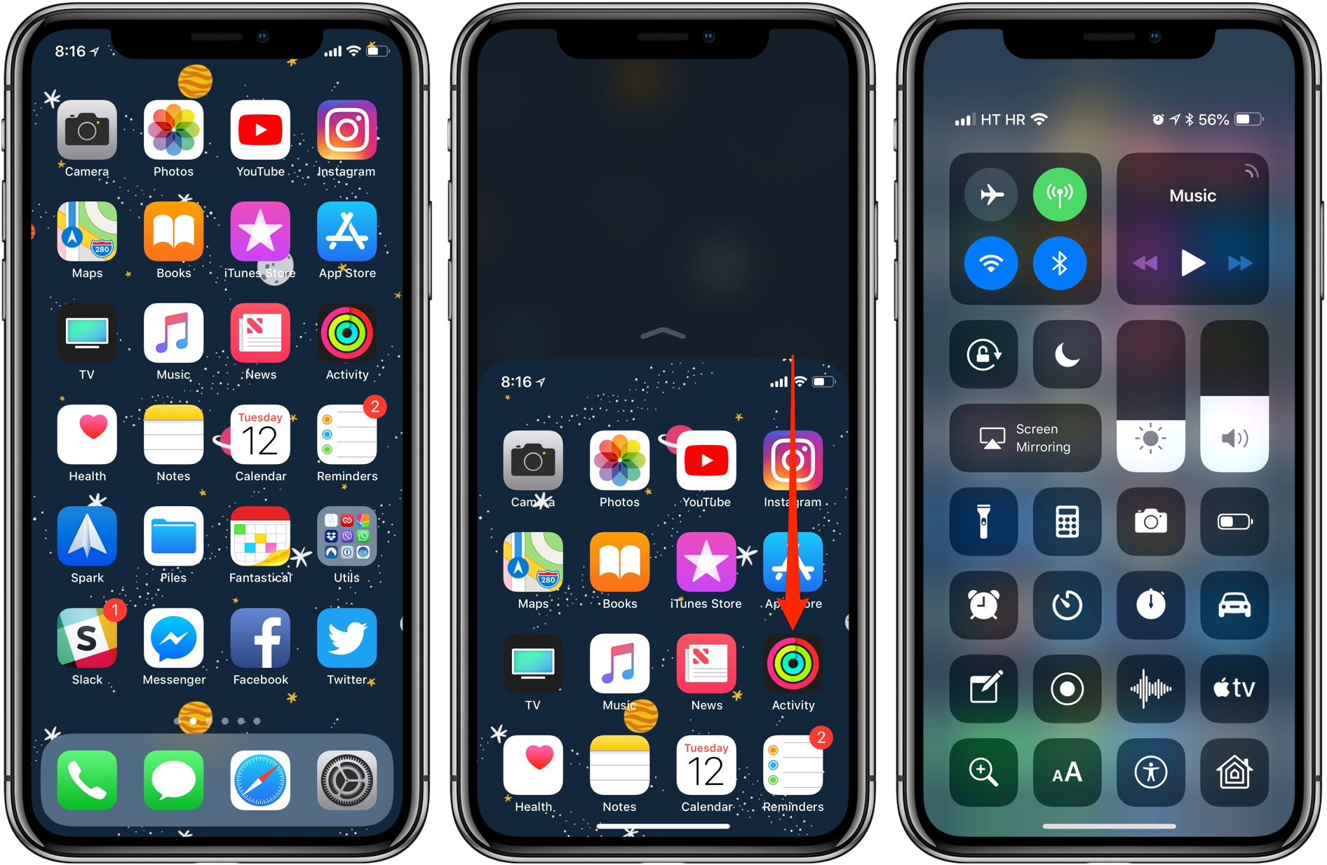 Reachability on iOS 12: pulling down Control Center from the middle-right corner of the display