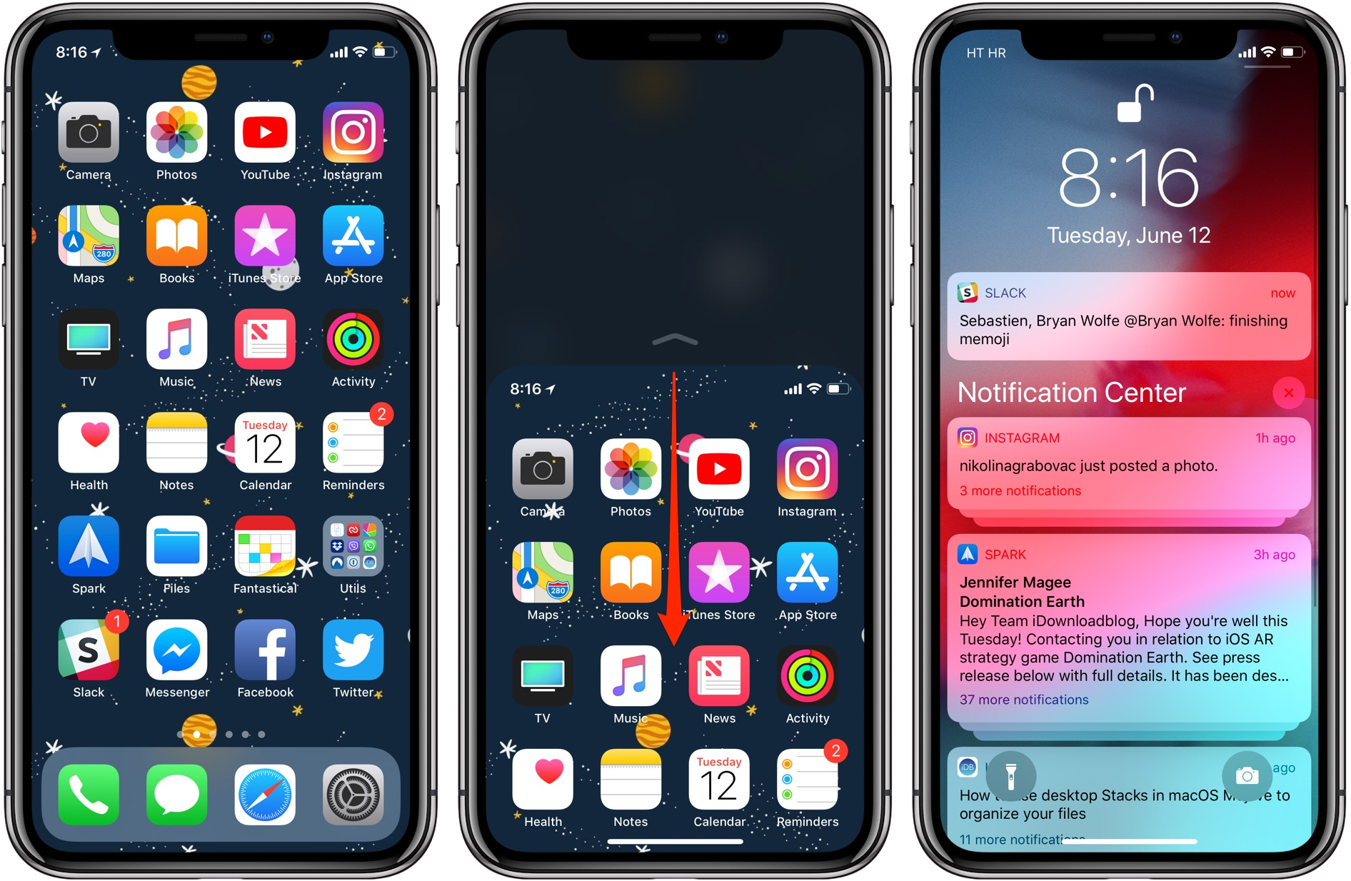 Reachability on iOS 12: pulling down Notification Center from the middle of the screen