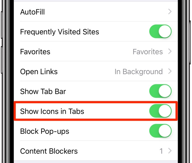 Safari favicons on iOS 12 must be enabled in Settings → Safari