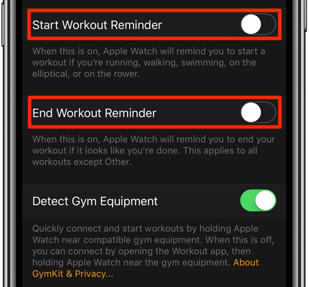 Disabling auto-workout reminders in the companion Watch app on iPhone