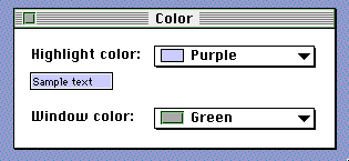 Custom highlight and window colors in Mac OS 7