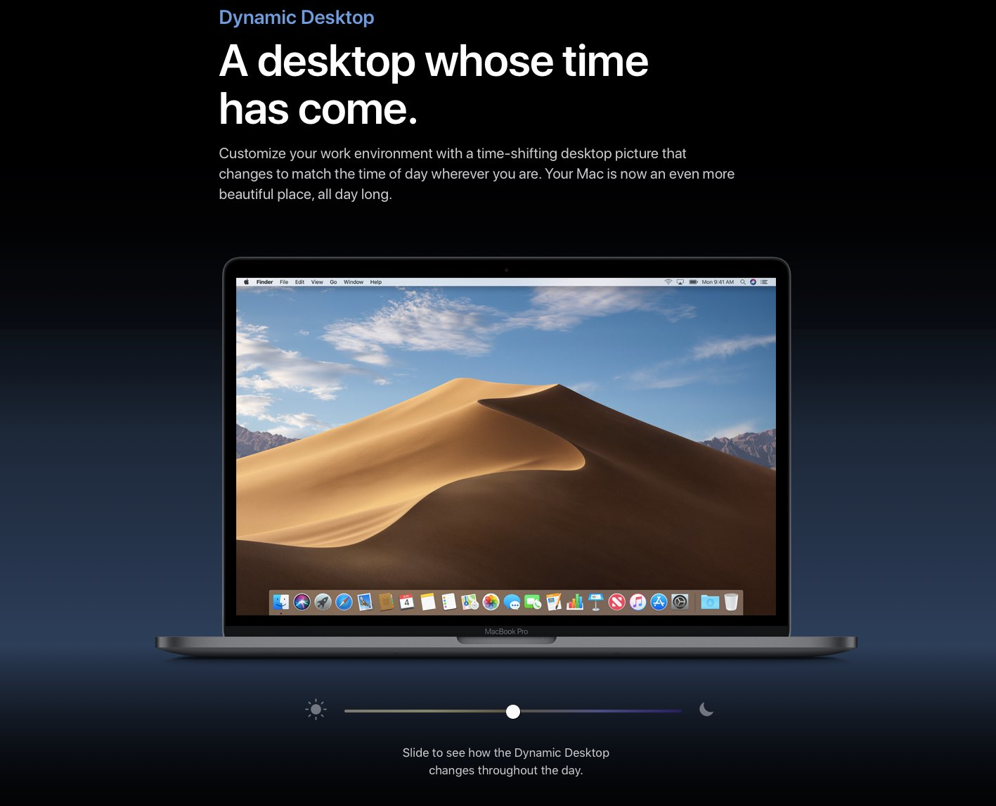 Dynamic Desktop in macOS Mojave brings a time-shifting picture to your desktop that changes to match the time of day