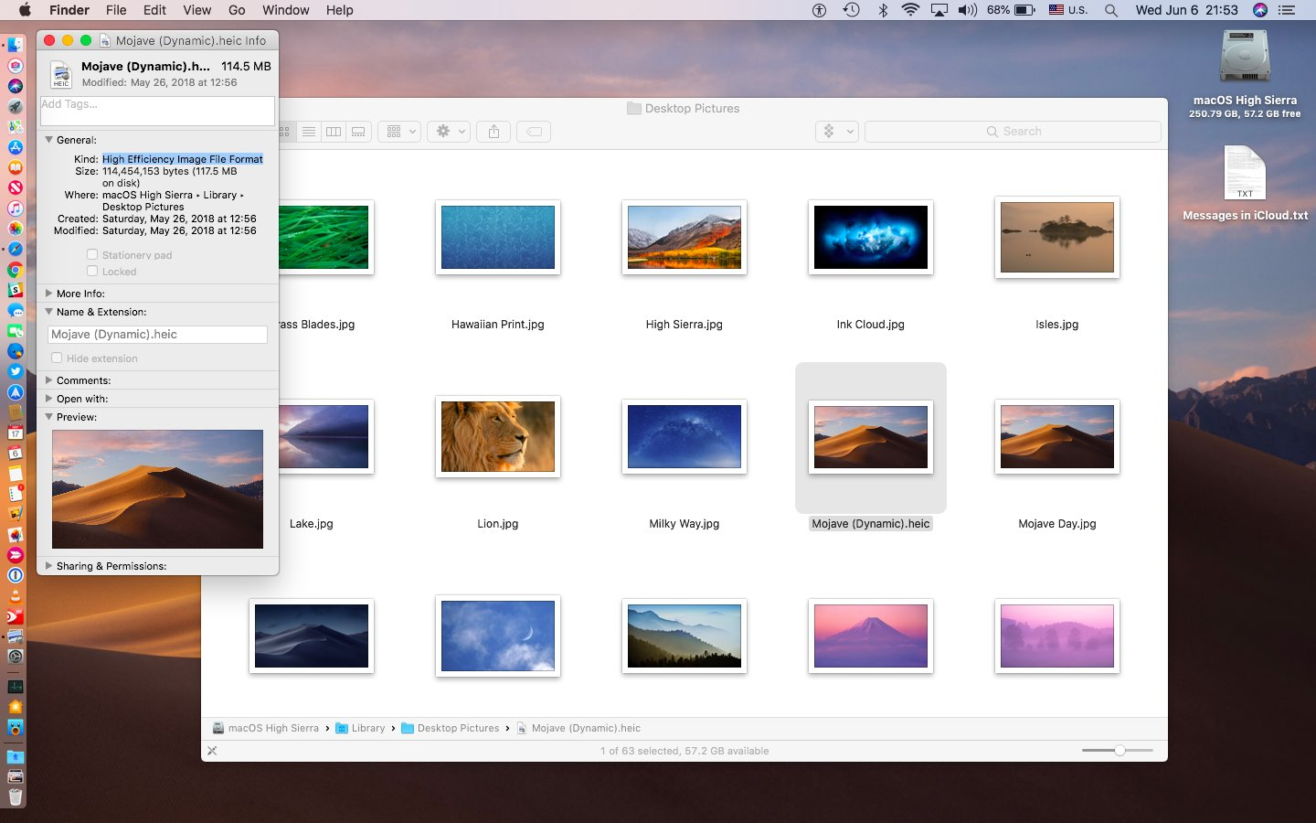 macOS Mojave uses Apple's new HEIC image file format to package Dynamic Desktop wallpapers