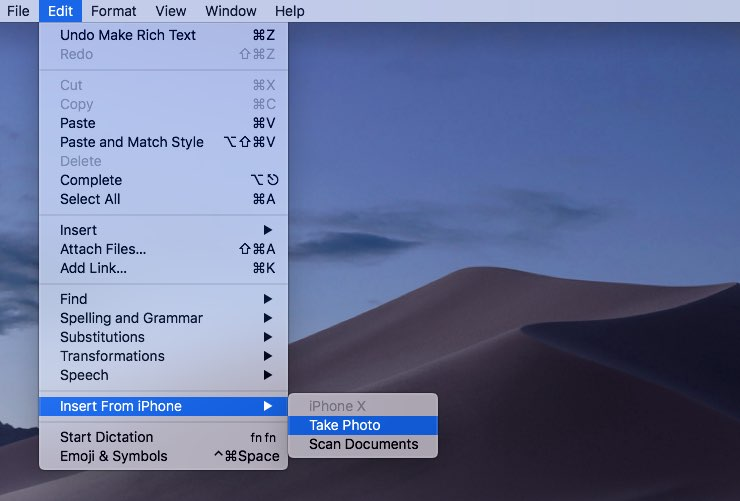 All document-based apps in Mojave automatically gain the new 'Insert from iPhone/iPad/iPod' command in the Edit menu