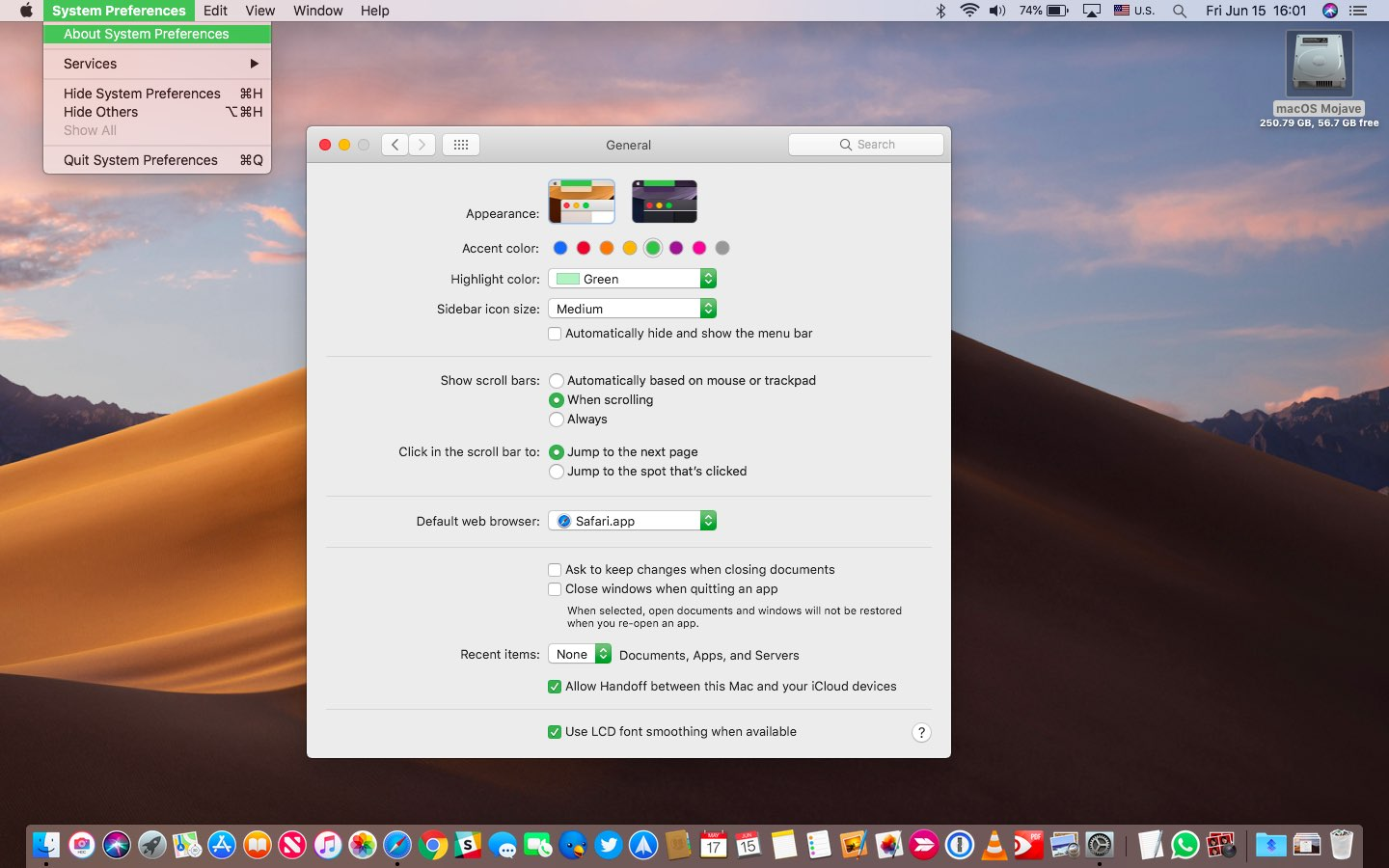 macOS Mojave Light Mode with the green accent and highlight color