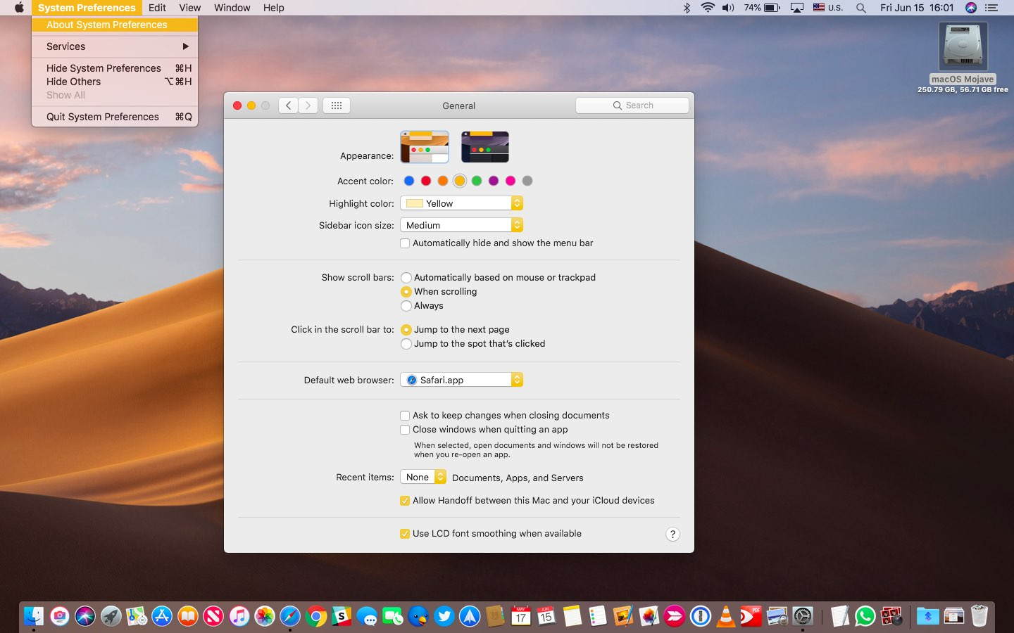 macOS Mojave Light Mode with the yellow accent and highlight color