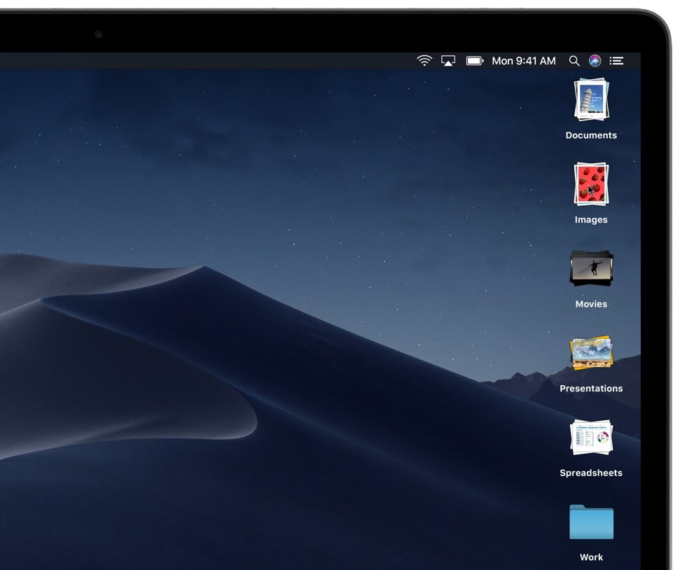 macOS Mojave desktop with stacks
