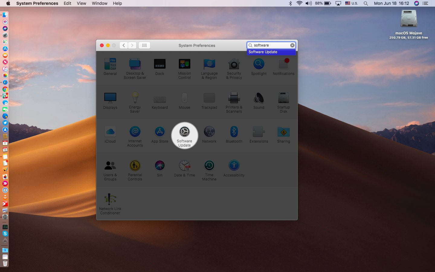 The Software Update icon in System Preferences on macOS Mojave