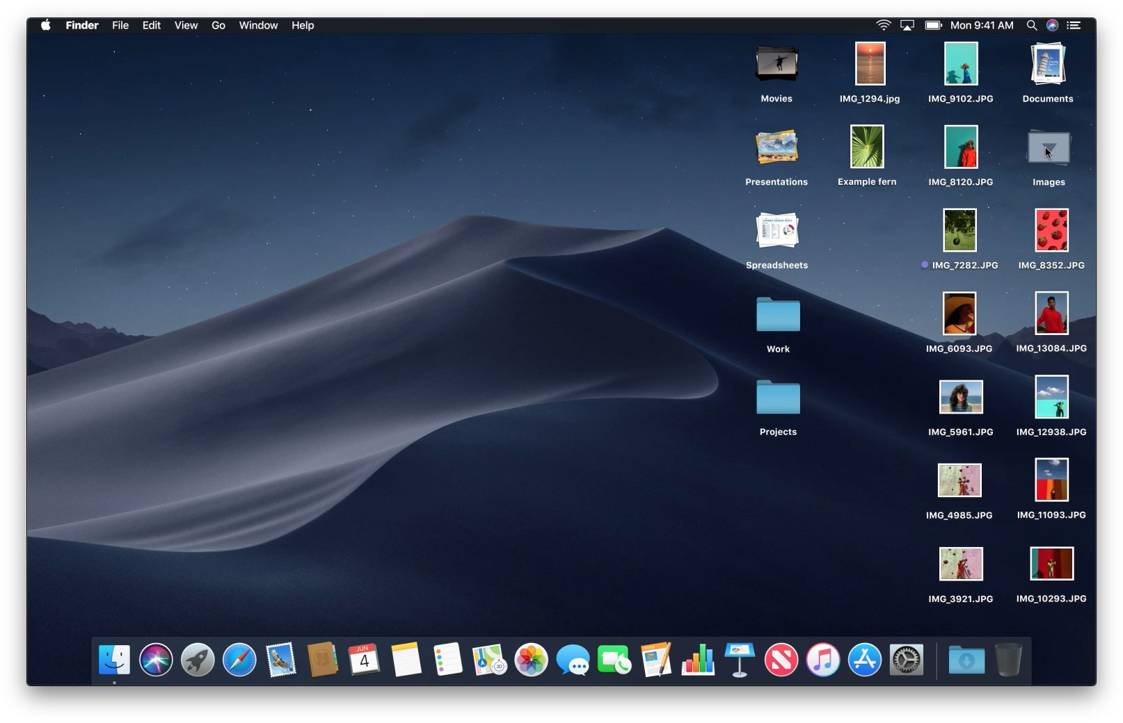 A tidied-up macOS Mojave desktop after the Stacks function has been used