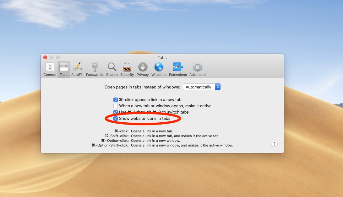 Safari favicons on macOS Mojave must be enabled in Safari preferences