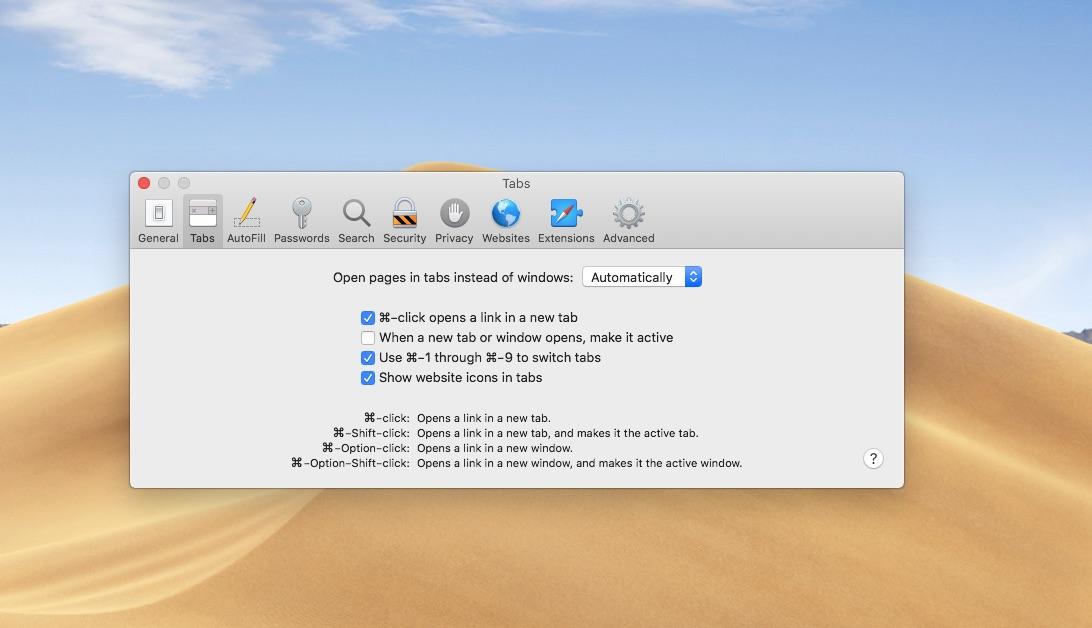 Safari favicons on macOS Mojave must be enabled in Safari preferences